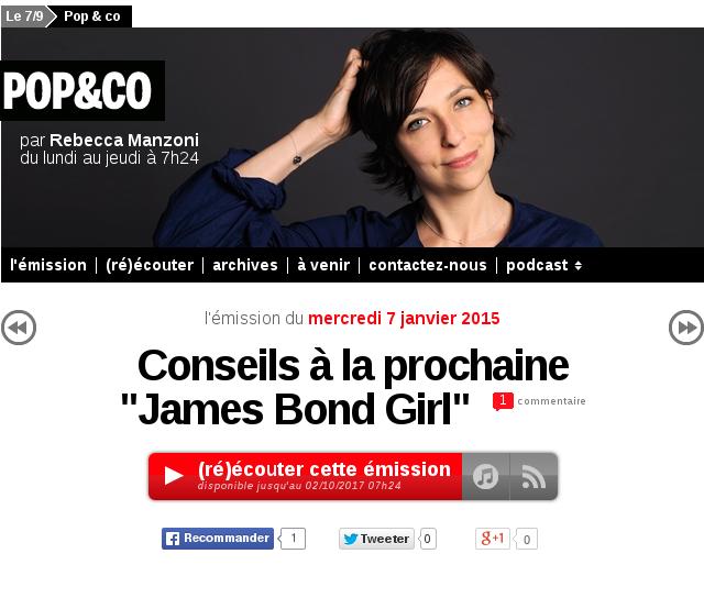[France Inter] Conseils à la prochaine James Bond Girl